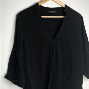 Knot Sisters Black Cross Front 3/4 Sleeve Top LB